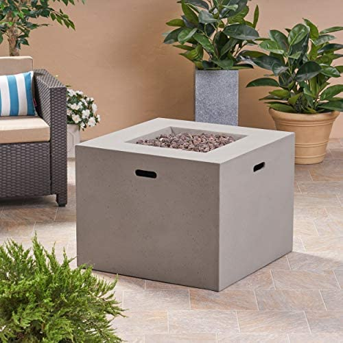 Great Deal Furniture Leo Outdoor 31″ Square Light Weight Concrete Gas Burning Fire Pit