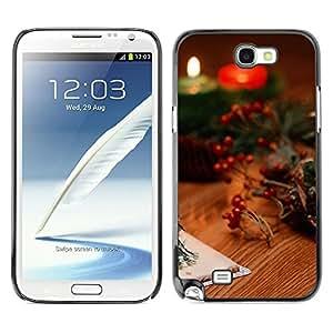YiPhone /// Prima de resorte delgada de la cubierta del caso de Shell Armor - Christmas Candles & Cards - Samsung Galaxy Note 2 N7100