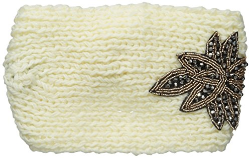 David & Young Women's Solid Colored Headwrap with Beaded Applique, Ivory, One Size
