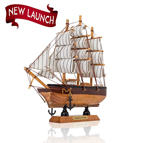 Vintage Model Ship- Handmade Wooden Replica Ship with Cloth Sails,Fully Assembled Pre-Built Model Ship, Nautical Decor, Traditional Wooden Toy Boat 6 Random Variation (Toys And Models compare prices)