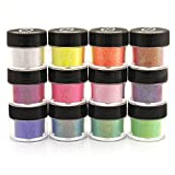 Beautiful Bright Fine Glitter Powder .008'' - 12 Piece Glitter Kit - Great for Nail Art, Gels, Art and Crafts, Paints and Acrylics Supplies Glitter Made in the USA! (10 Gram Jars)