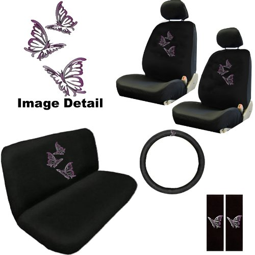 BDK Purple Butterfly Design Seat Covers for Car, SUV - Universal Fit Auto Accessory, W/ Belt Pad, Steering Wheel Cover