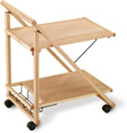 Aris Plio - Folding Cart in Solid Beech Wood with Bottle Rack - Handcrafted in Italy - Natural Finish
