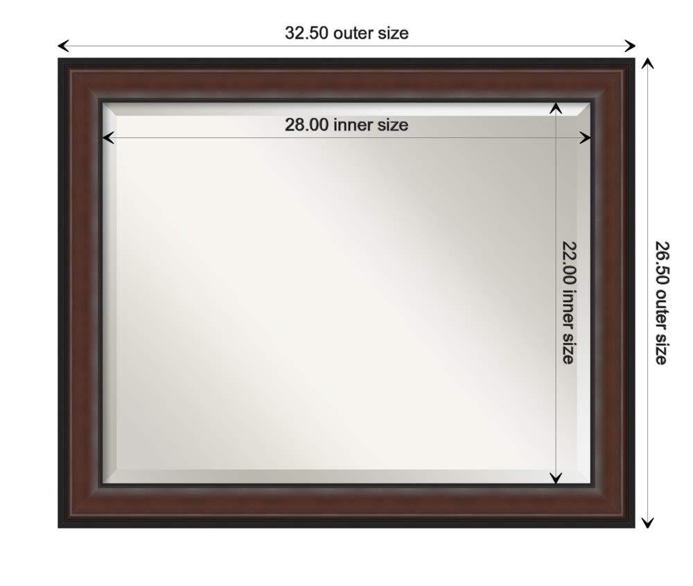 24.50 x 20.50 Wall Mounted Mirror Bathroom Mirrors for Wall Harvard Walnut Mirror Framed Vanity Mirror Small Mirror