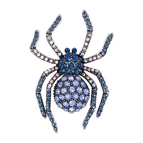 EVER FAITH Austrian Crystal Adorable Squabby Spider Animal Brooch Blue Antique Silver-Tone