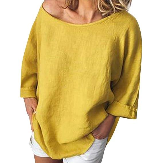 Geilisungren Camisetas Mujer Manga Larga, Talla Grande Blusas para Mujer Elegantes Verano Pullover Cuello Redondo