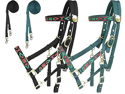 - Derby Originals Padded Nylon Halter Bridle Draft Combo with Reins Aztec, Hunter Green