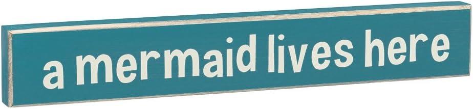 A Mermaid Lives Here - Vintage Coastal Mini Wood Sign - 16-in (Large)