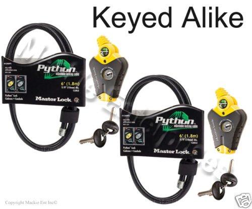 Master Lock - Python Adjustable Cable Locks 8413KA2-66 Keyed Coil Cable Lock