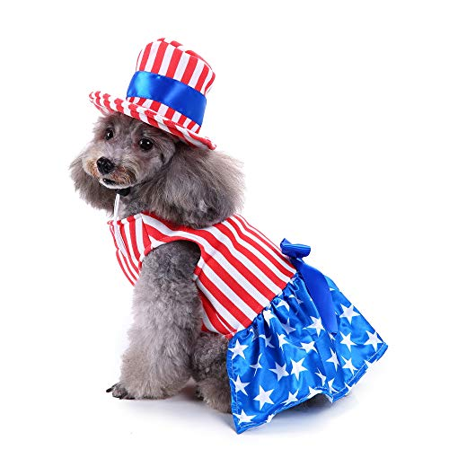 - Vevins USA Patriotic Dog Costume with Hat Uncle Sam Christmas Dress Cosplay Clothes Funny Halloween Party Apperal Size S