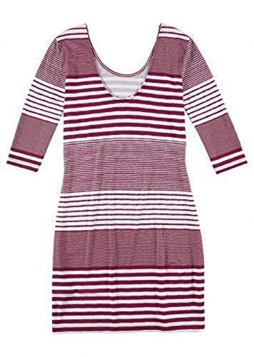 Neu Damen Shirt Kleid 36 38 Beere Weiß Streifen 3 4 Arm