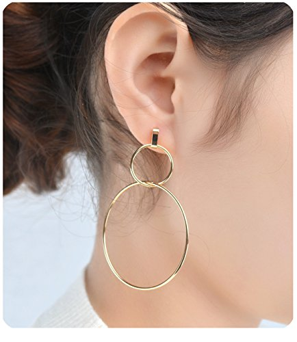 Gudukt Double Link Earrings Simple Double Circle Ring Drop Earrings Double Ring Dangle Earrings for Women ()