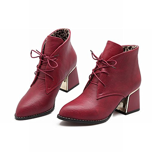 Latasa Donna Fashion Lace-up Chunky Mid-heel Ankle-high Casual Boots Rosso