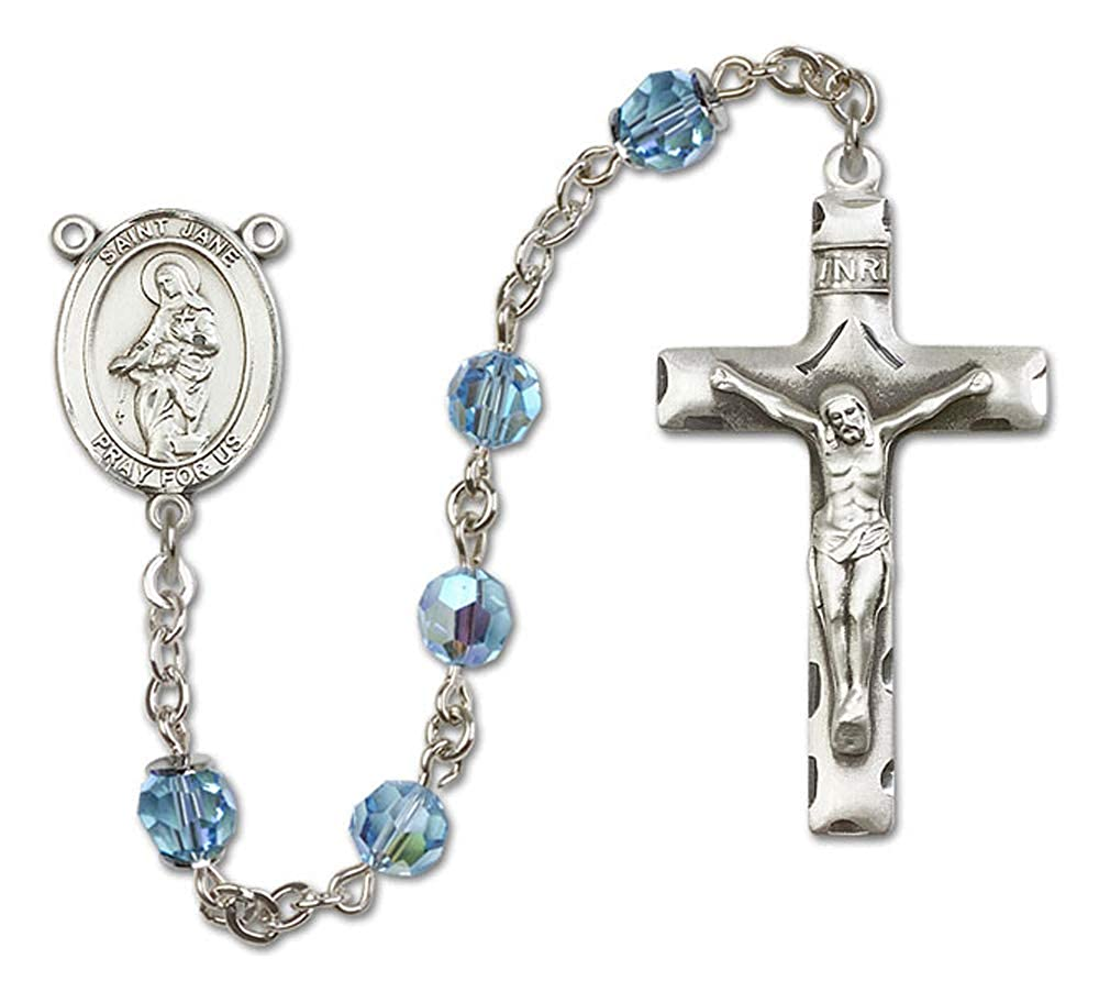 St Austrian Tin Cut Aurora Borealis Beads All Sterling Silver Rosary with Aqua Jane of Valois Center 6mm Swarovski St Jane of Valois is the Patron Saint of Loss of Parents//Widows.