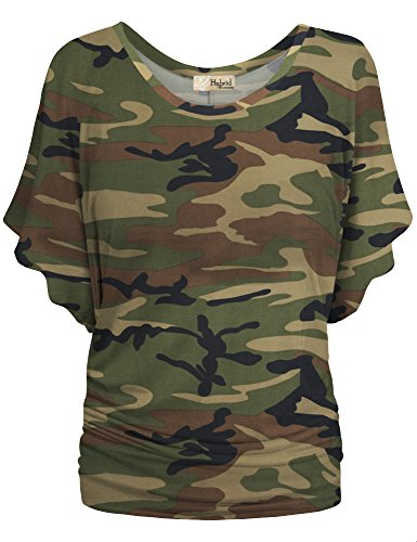 HyBrid & Company Womens Boat Neck Dolman Top Shirt KT44130 10188 Camouflage L ()