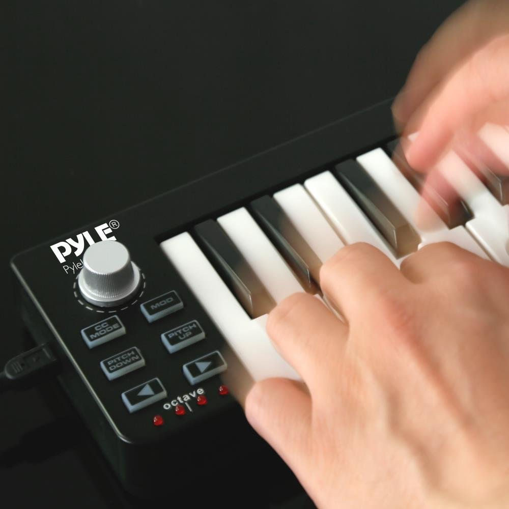 Pyle USB MIDI Keyboard Controller - Upgraded 25 Key Portable Audio Recording Workstation Equipment - Hardware Buttons Control any DAW Software for Computer Music Production - PMIDIKB10_0 by Pyle (Image #7)