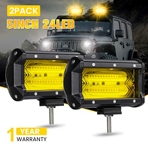 "- AMBOTHER 5"" 72W LED Light Bar Yellow Off Road LED Pod Lights Waterproof Driving Fog Lights Work Light for Jeep Truck Motorcycle Van Wagon ATV SUV Pickup, 24LED, Amber, 1 Year Warranty (2 Pack)"