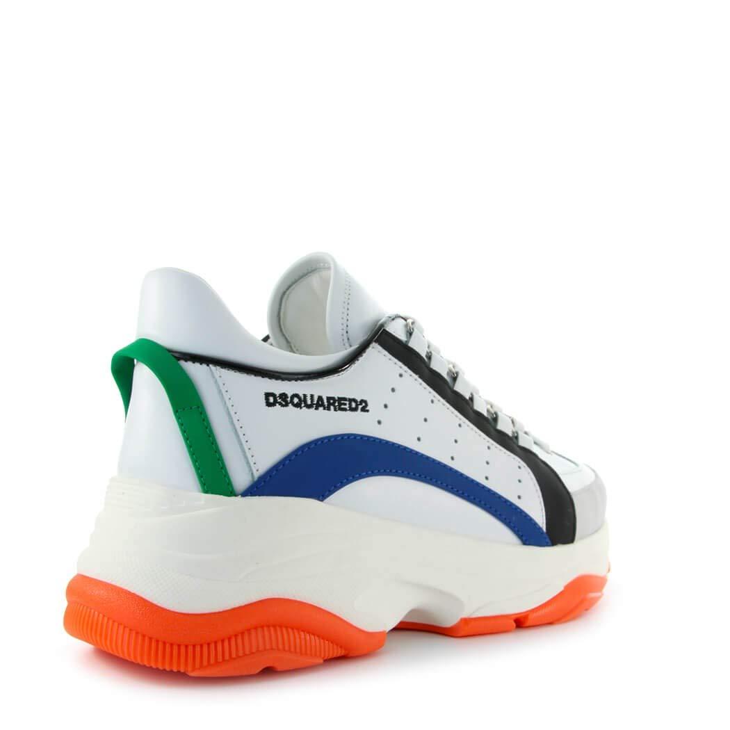 517d5a827 Dsquared2 Chaussures Homme Baskets Bumpy 551 Blanc Bleu Orange SS ...