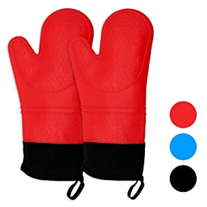 Keyser Silicone Oven Mitts - 1 Pair of Extra Long Professional Heat Resistant Pot Holder & Baking Gloves - Food Safe, Baking and Outdoor BBQ(red)
