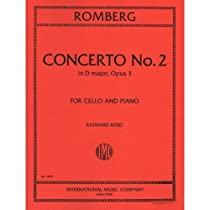 Romberg Concerto No 2 In D Major Op3. For Cello and piano. Edited by Leonard Rose. International