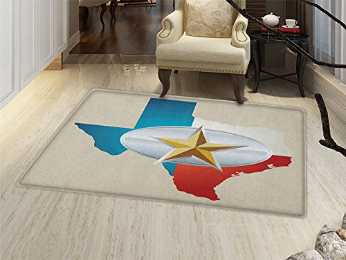 smallbeefly Texas Star Door Mat indoors Cowboy Belt Buckle Star Design with Texas Map Southwestern Parts of America Customize Bath Mat with Non Slip Backing ()