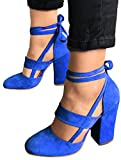 Prettoday Women Sexy High Heel Pumps 3 Colors Suede Straps Thick High Heeled Shoes (11, Blue) | amazon.com