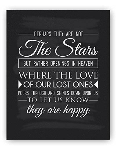 Remembrance Gift Sympathy Gift Quote Chalkboard Sign Gift, Unique Condolence Gift, Memorial Gift - Perhaps they are Stars - by Ocean Drop Designs