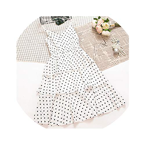 - Women Dress Summer Sleeveless Tiered Midi Sundress Vintage Polka Dot Cami Dress Bohemian Chiffon,Short White