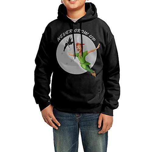 [GGDD Youth Peter Pan Cartoon Movie Poster Travel Cool Hoodie Sweatshirt Casual Style L Black] (Peter Pan Cast Costumes)