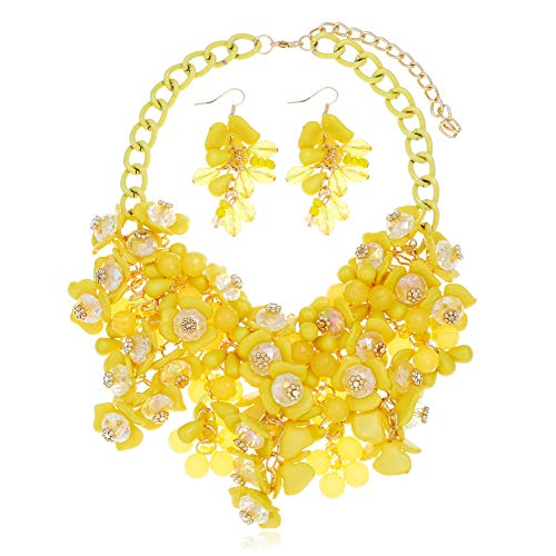 HoBST Yellow Party Choker Necklace Fashion Flower Bubble Bib Collar Chain Statement Necklaces Set for Women