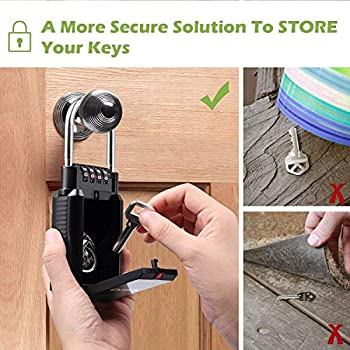 Hotels Weatherproof Lock box For House Key Key Storage with Loop for House Schools Resettable 4-Digit Combination Lockbox Airbnb Large Capacity BeskooHome Key Lock Box For Outside
