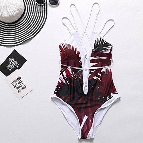 Bikini Bain Bretelles Pieces Maillots Up De Licol Rouge Push Feuilles Beachwear 1 Chic Femme Pousser Minceur Elegant Maillot Siamois Sans Impression Adeshop 46EqxPE