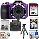 Minolta MN35Z 1080p 35x Zoom Wi-Fi Digital Camera (Purple) with 32GB Card + Case + Flex Tripod + Kit