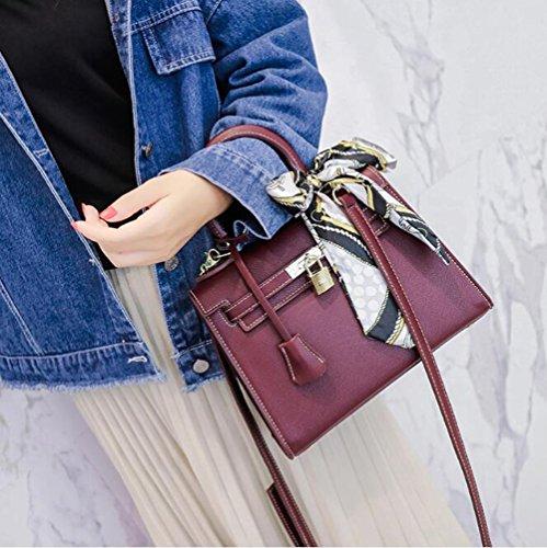 Main Petit pour Ruban Motif Croisé Paquet Femme en Fête Mode LXYIUN À Vin Sac Rouge De À Bandoulière Sac Cuir en f4wgEqpZ