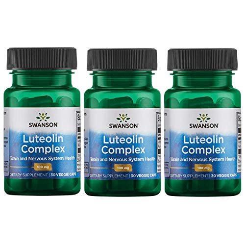 Swanson Luteolin Complex with Rutin Cognitive Enhancer Brain Support Memory Mood Longevity Supplement 100 mg 30 Veggie Capsules (3 Pack)