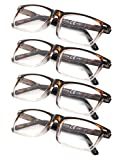 4-Pack Reading Glasses with Spring Hinges +1.50 TortoiseClear Vintage Style