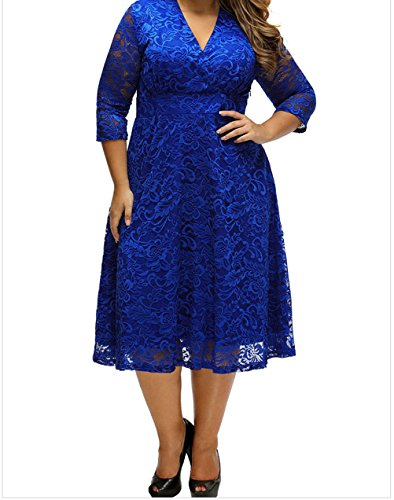 FQHOME Womens Blue Plus Size Surplice Lace Formal Skater Dress Size - Wiggle.com.uk