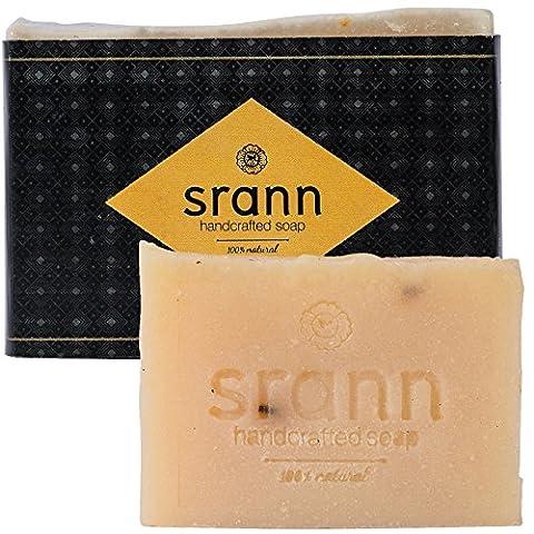 Goat Milk & Lavender Face & Body Soap - Skin Nourishing for Sensitive Skin -Thai Spa Quality - Natural Organic Moisturizer - 6 Therapeutic Grade Essential Oils - Handmade, Fair Trade - 4.25 Ounce - Thai Natural