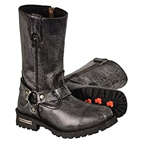 Men's Classic Motorcycle Harness Boot In Distressed Grey Leather (Size 11.5)