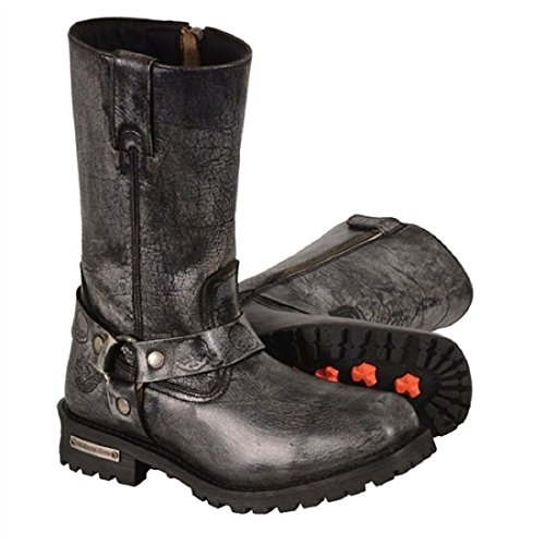 Men's Classic Motorcycle Harness Boot in Distressed Grey Leather (Size 10.5)