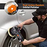 Buffer Polisher, TACKLIFE 6 Inch/5 Inch Dual Action Random Orbital Car Polisher, 6-Level Variable Speed, 1500-6400RPM, with 4 Foam Pads, Tool Bag for Car Sanding, Polishing, Waxing, Buffing - PPGJ04A