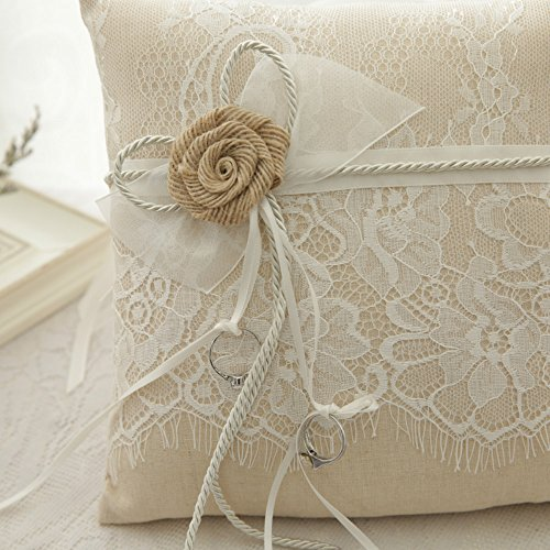 WoodBury Wedding Ring Bearer Pillow Lace Floral Ivory Brown(8 Inch x 8 Inch) by Wood Bury (Image #4)