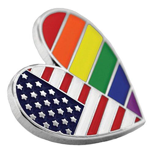 PinMart's Gay Pride USA American Flag Heart LGBT Enamel Lapel Pin by PinMart (Image #1)'