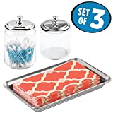 mDesign Bathroom Vanity Storage Organizer Canister Jars and Vanity Tray Set for Q tips, Cotton Swabs, Rounds, Balls, Makeup Sponges, Bath Salts, Guest Towels, Perfume - Set of 3, Clear/Polished