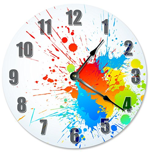 Cheap Sugar Vine Art SPLATTER PAINT CLOCK Decorative Round Wall Clock Home Decor Large 10.5″ Unique Clocks