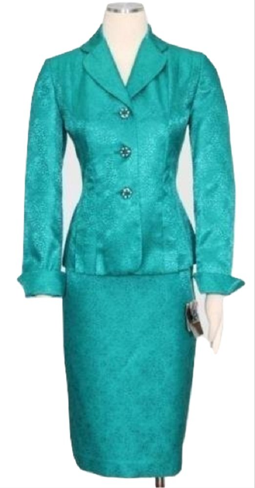 Kasper Womens The Golden Age Jacquard 2PC Skirt Suit Green 14