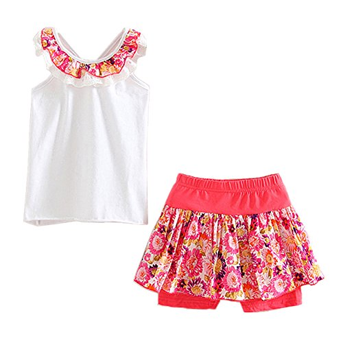 LittleSpring Little Girls' Shorts Set Summer Flower Sleveless Size 6(tag130) White (Little Short Girls)