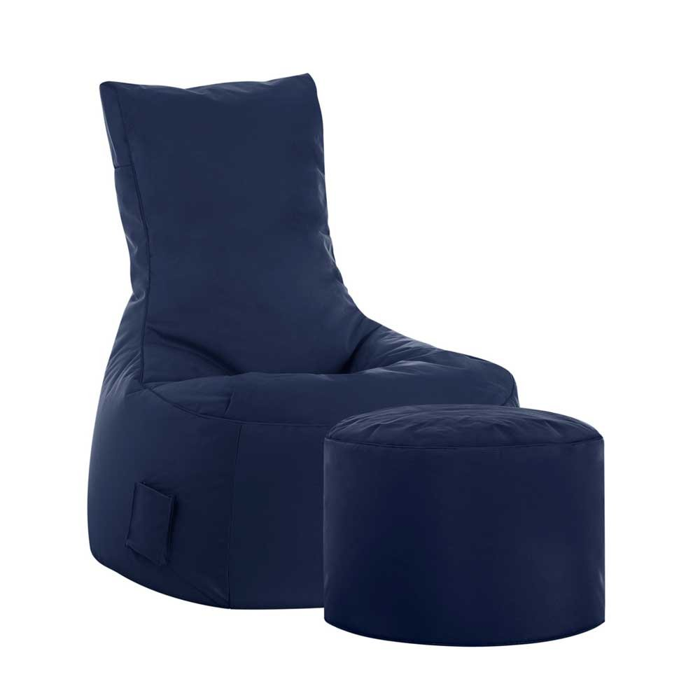 Pharao24 Sitzsack Sessel in Dunkelblau Hocker Tiefe 115 cm mit Fußhocker Ja