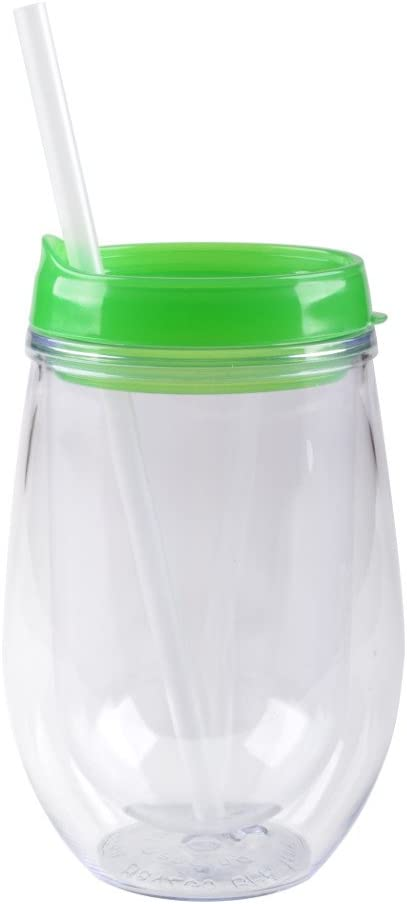 Bev/Go: Double Wall Acrylic Stemless Wine Glass with Color Lid, Apple Green