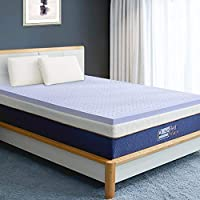 BedStory Memory Foam Mattress Topper Queen, 2 Inch Lavender Infused Foam Mattress with Microfiber Fitted Cover, Memory Foam Mattress Pad Bed Topper with CertiPUR-US, Ventilated Design